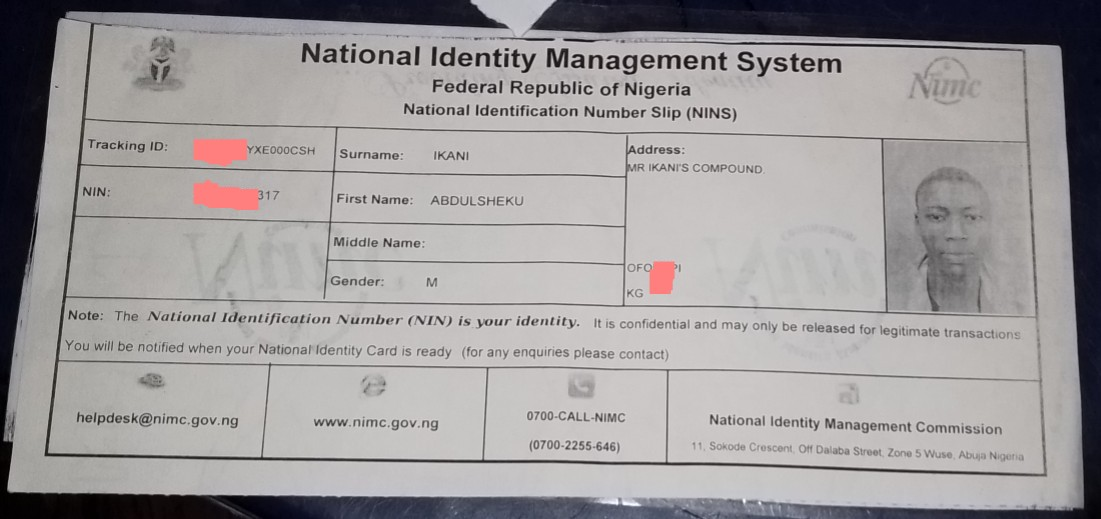 This is the permanent one of national ID card: it contains an identification number of a person and lot more