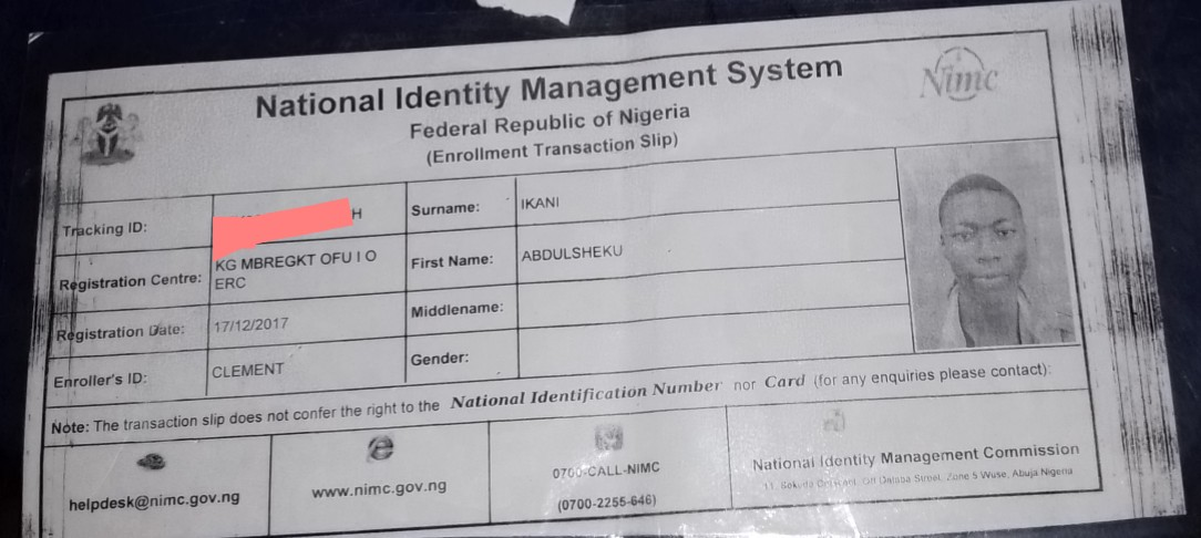 Permanent national ID card slip: this doesn't contain a NIN but tracking id