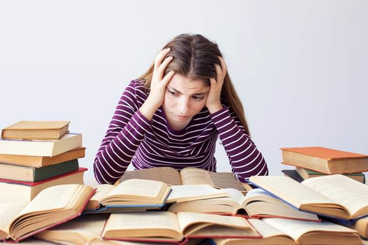 Student studying hard subject