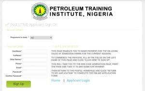 The Registration portal of the post UTME of Petroleum Training Institute for 2020