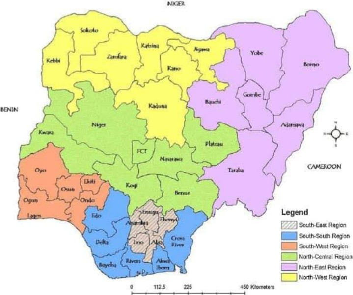 Six geo-political zones in Nigeria on the map