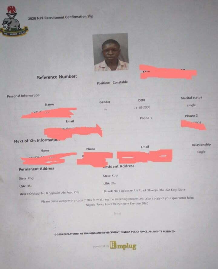 Application confirmation slip of Nigeria Police Force Job 2020