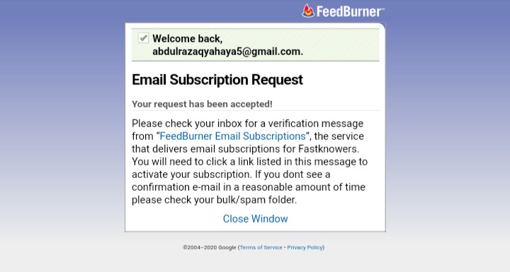 Login to your email account and verify your email address to subscribe for Fastknowers newsletter