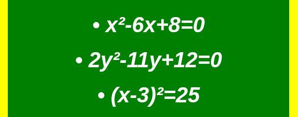 Examples of quadratic equation