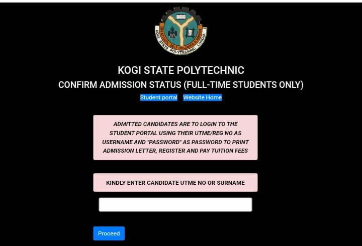 KSP full-time admission list checking portal