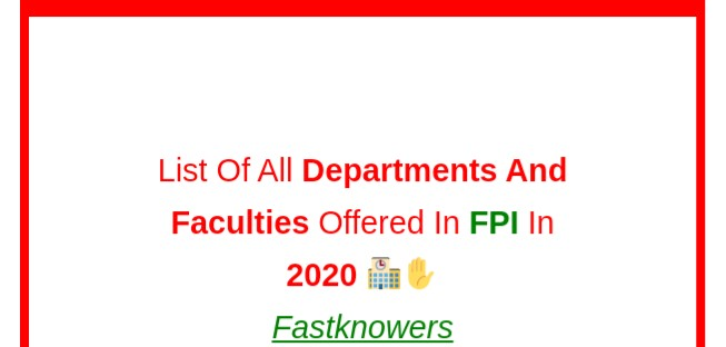 List of all departments and faculties in FPI in 2020