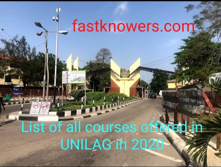 Full list of all courses offered in University of Lagos in 2020 for both undergraduate and postgraduate students