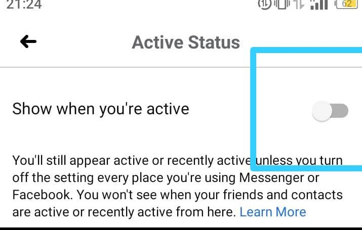 Online status of Facebook