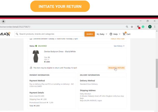 Delivered lady product on Jumia